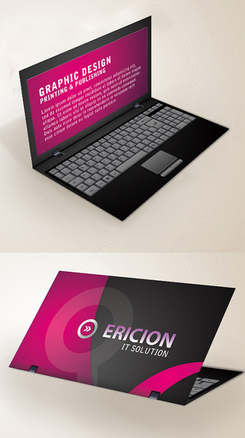20 folded business cards that will give you ideas naldz graphics laptop folded business card colourmoves Choice Image