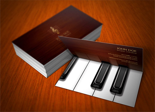 piano folded business card