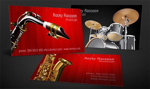 red musician business card