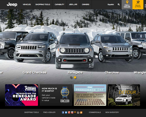 jeep automotive website design