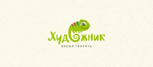 Russian chameleon logo design