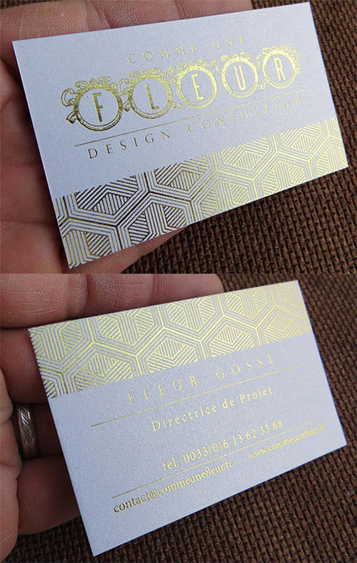 gold textured business card