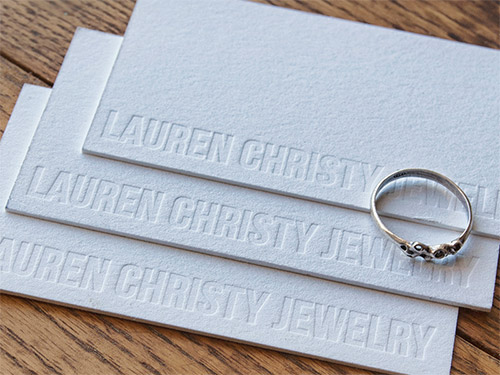 jewelry blind deboss business card