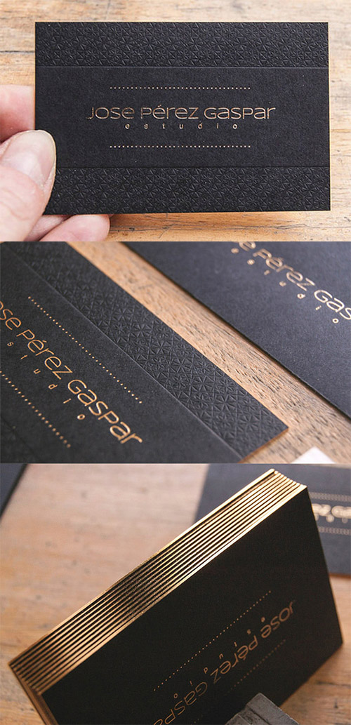 textured business card gold