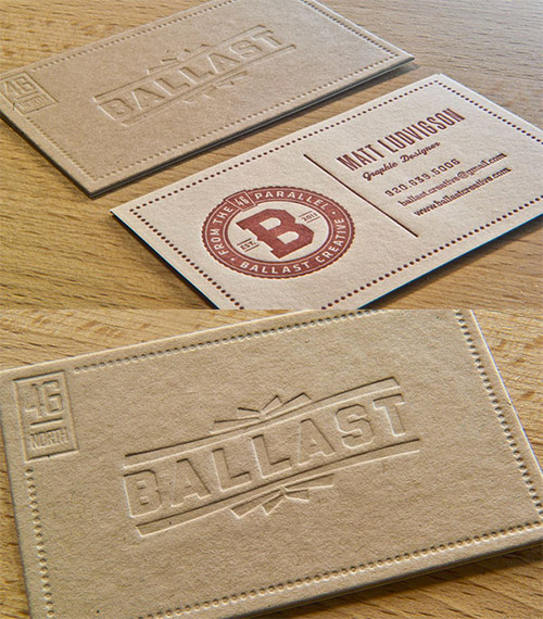 ballast blind deboss business card