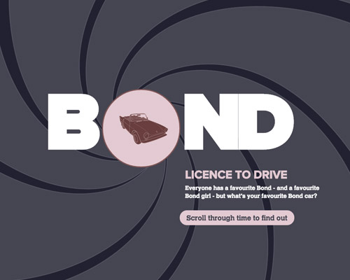 james bond cars website design