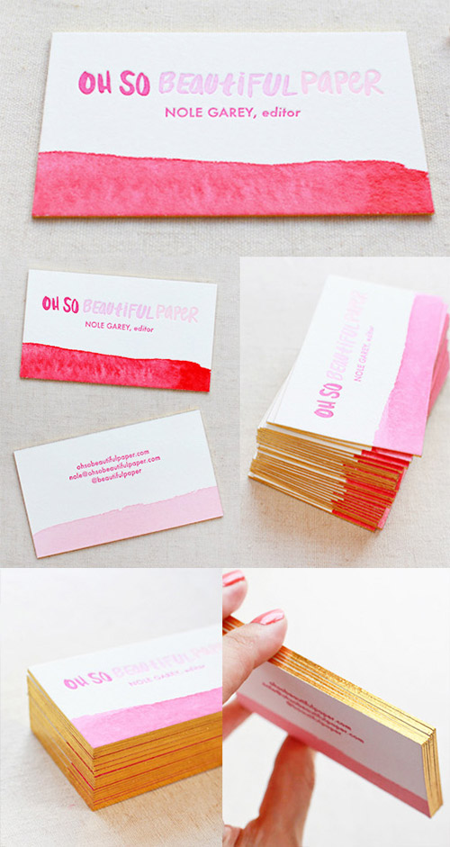 watercolor gold business card