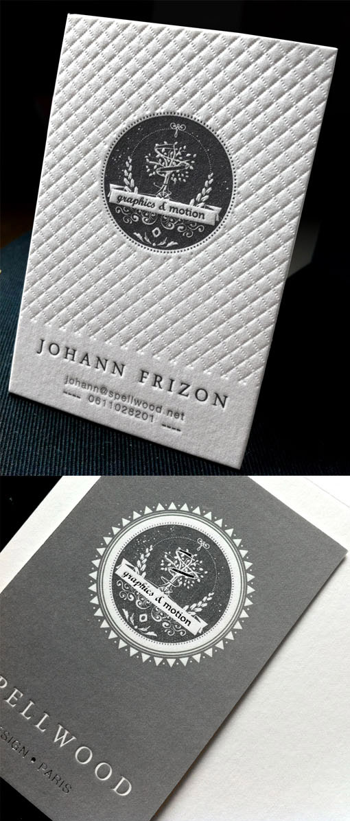 white textured business card