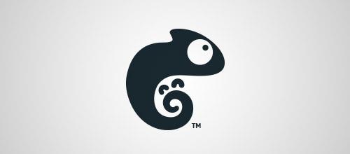 baby chameleon logo design