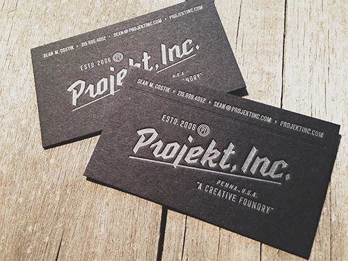 project business cards blind deboss