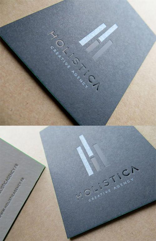 black blind deboss business card