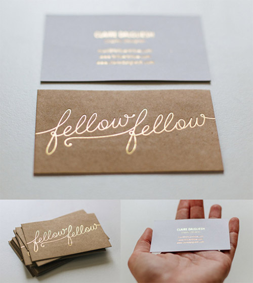 gold typography business card