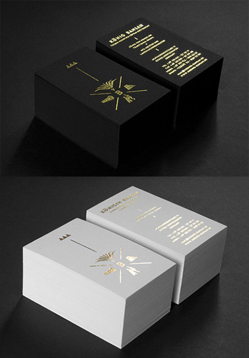 black gold foil business card