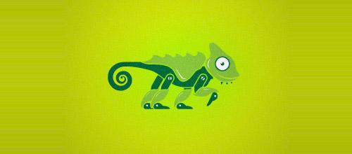 techy chameleon logo design