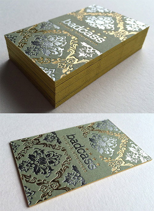vintage gold business card