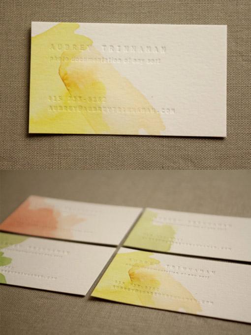 watercolor blind deboss business card
