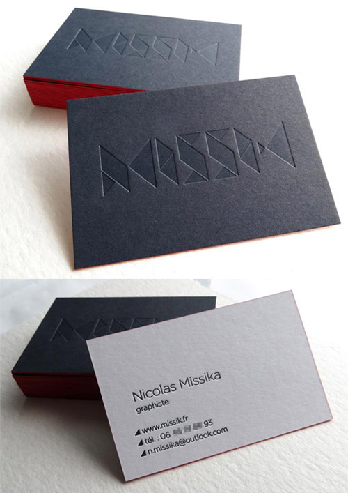 black white blind deboss business card