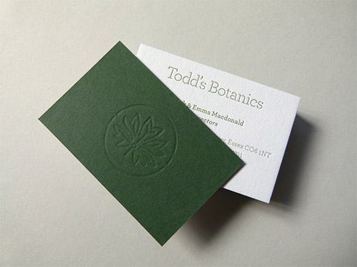 green blind deboss business card
