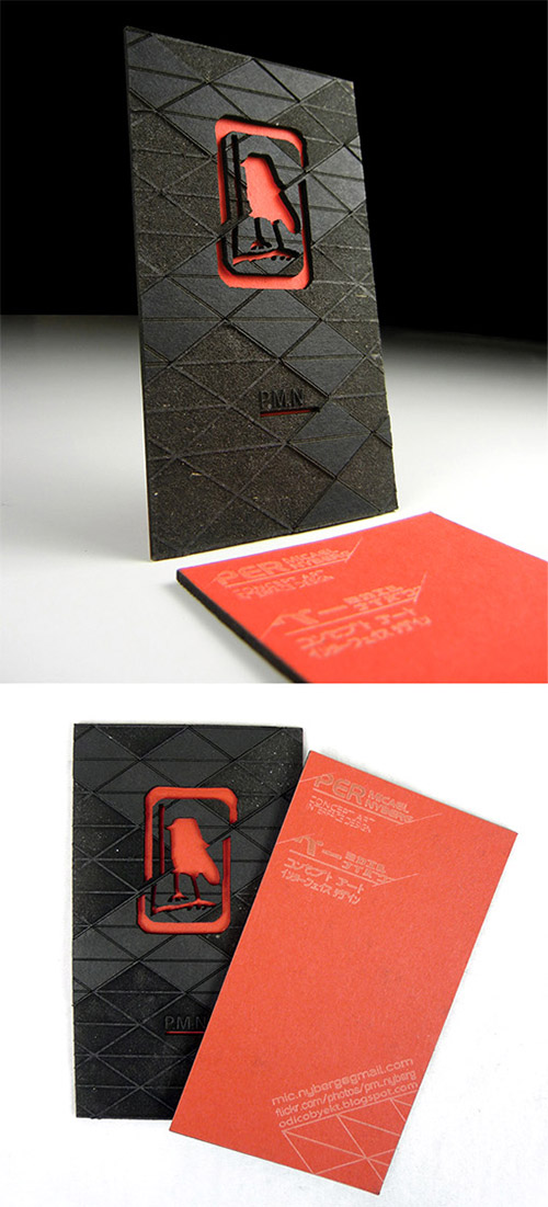 red texture business card
