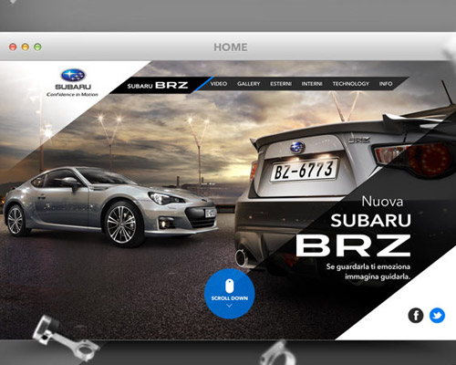 Subaru BRZ car website design