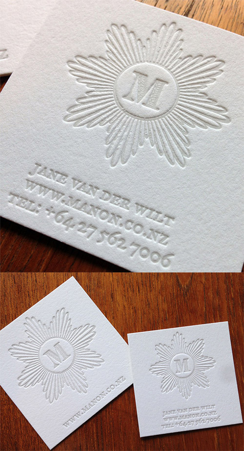 white blind press business card