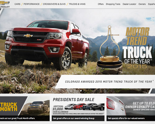 Chevrolet car website design