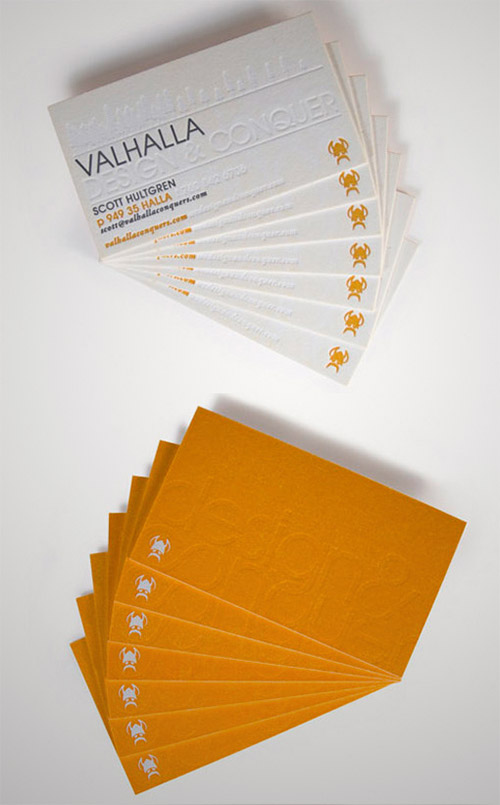 textured blind press business card
