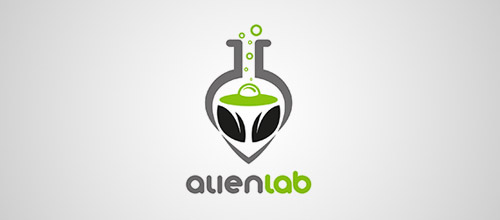 alien lab tube logo design