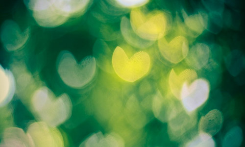 green heart bokeh texture