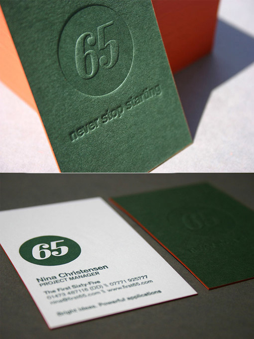 green blind press business card