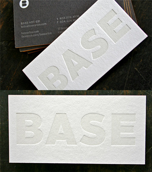 base blind press business card