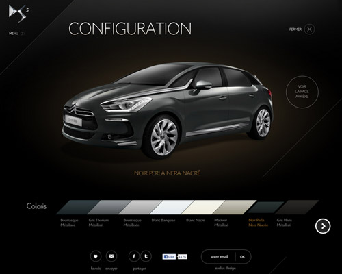citroen DS5 car website design