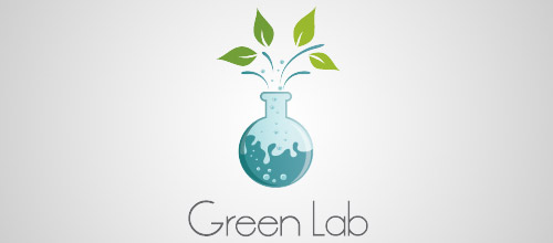 green lab tube logo design