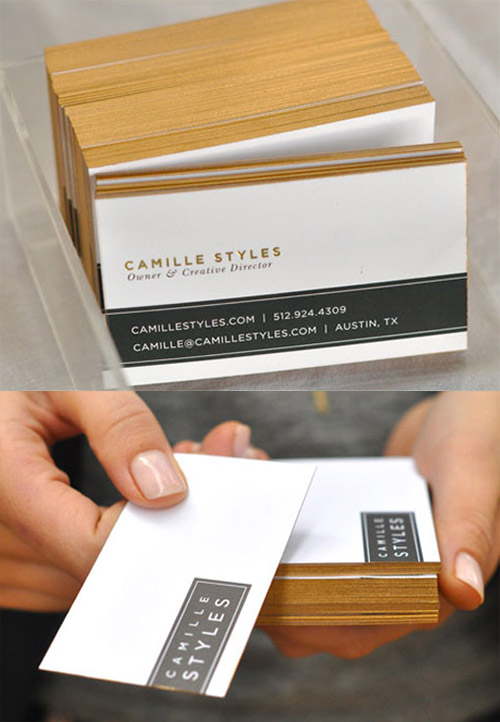 gold edge paint business cards
