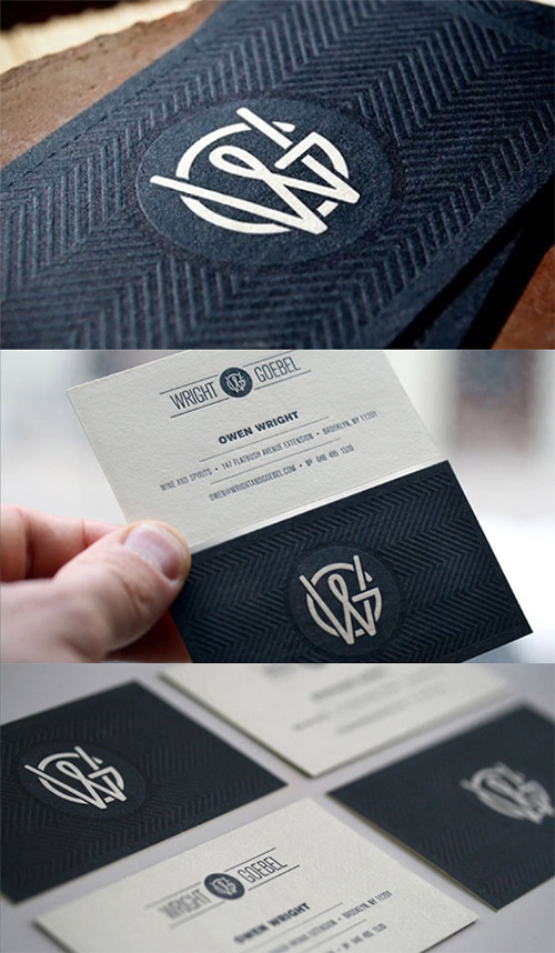 letterpress textured business card design