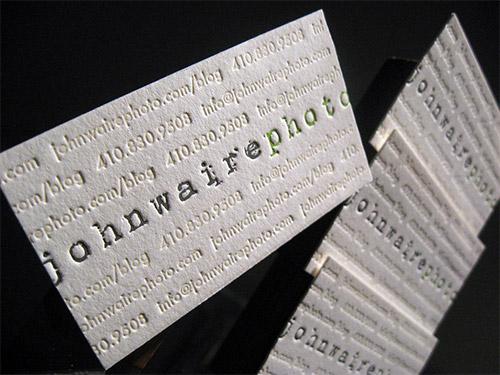photo blind deboss business card