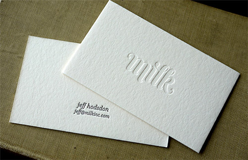 milk blind deboss business card