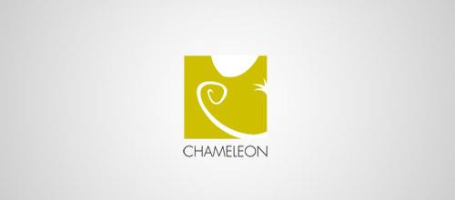 chameleon logo design yellow