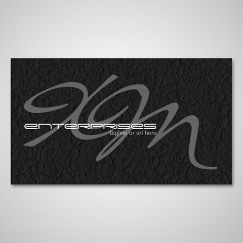 black leather textured business card