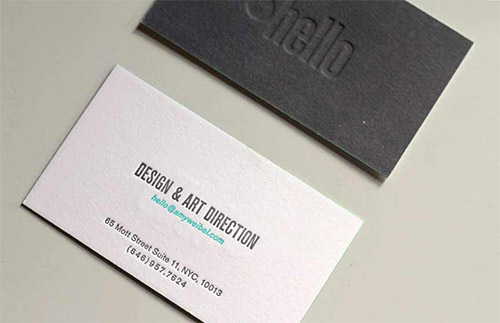 hello blind deboss business card