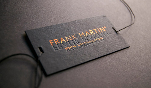 frank martin blind deboss business card