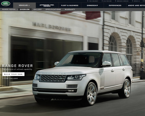 land rover automobile website design