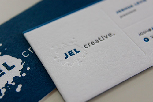blue blind deboss business card