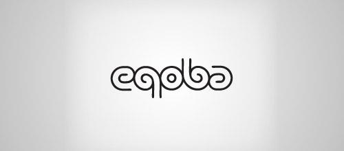 eqoba logo ambigram design