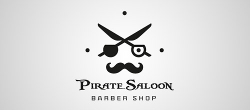 pirate saloon scissors logo