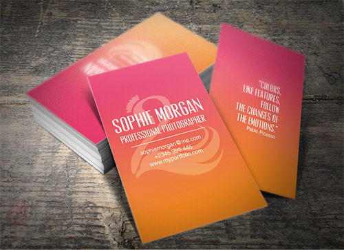 pink orange business card gradient