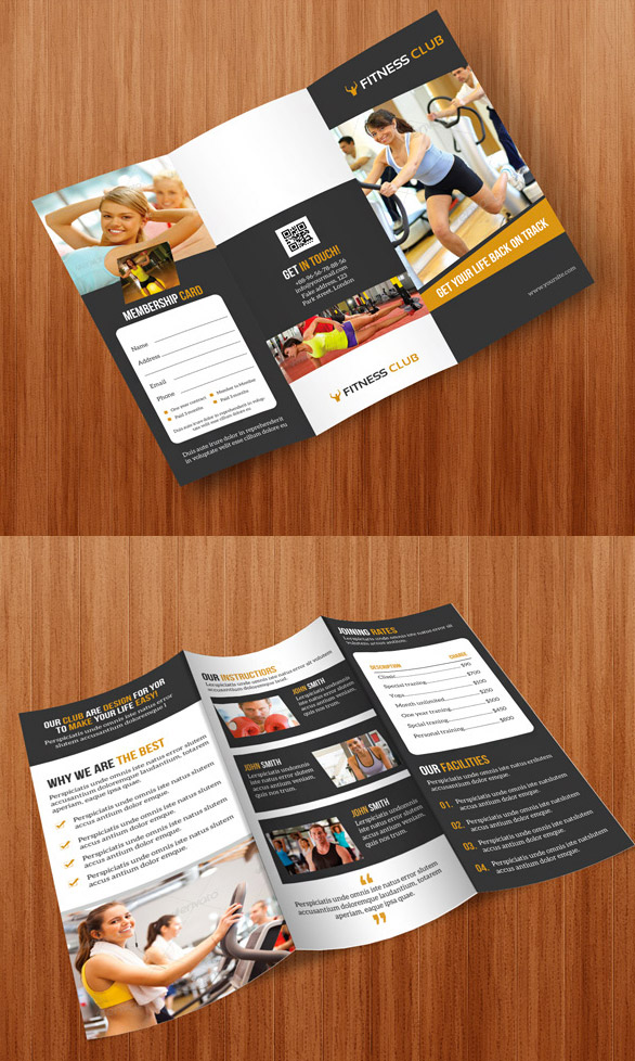 trifold brochure gym