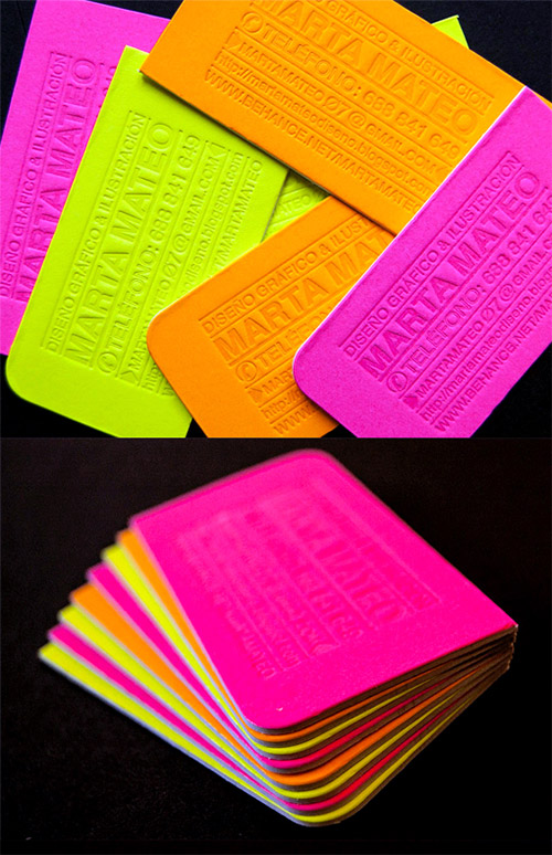 bright neon letterpress business card