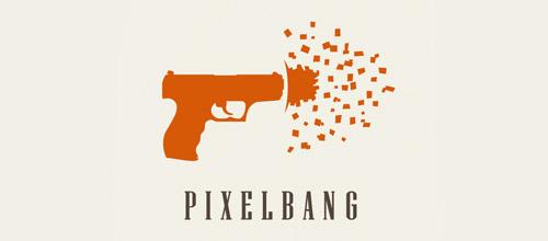pixel bang logo design gun