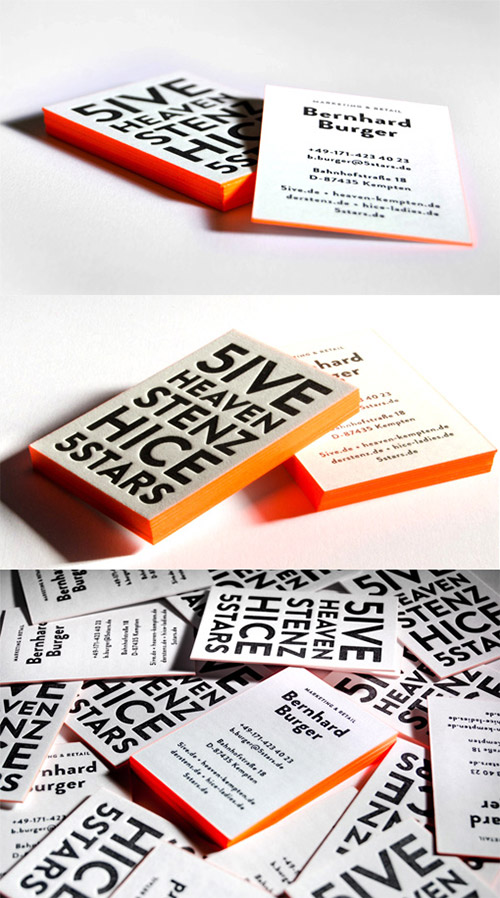 neon orange business card design